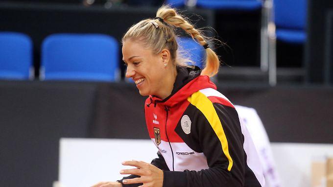 Training in Stuttgart: Angelique Kerber.