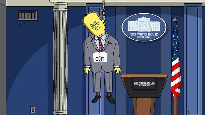 """Sean Spicer hat sich aufgehängt - mit diesem Bild sorgen """"Die Simpsons"""" für Furore."""