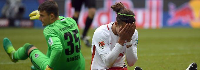 Nullnull gegen Ingolstadt: Leipzigs Yussuf Poulsen.