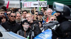 In Halle stellten sich Tausende Menschen weit weniger Rechtsextremen entgegen.