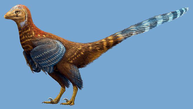 """Computergrafik des vogelähnlichen Dinosauriers """"Jianianhualong tengi""""."""
