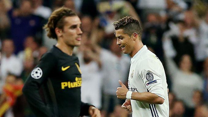 Atlético und Antoine Griezmann wollen das Wunder gegen Real Madrid und Cristiano Ronaldo (r.).