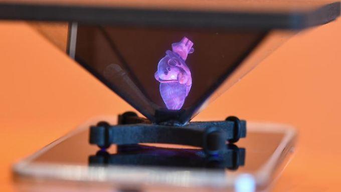 Hologramm auf einem Smartphone.