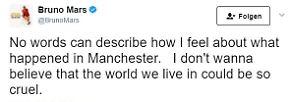 """""""Worte können nicht beschreiben, wie ich mich wegen Manchester fühle. Ich will einfach nicht glauben, dass die Welt, in der wir leben, so grausam ist."""""""