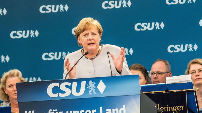 Bundeskanzlerin Merkel äußerte sich bei einem Wahlkampfauftritt in München.