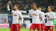 Der Jubel nach der Schwalbe: Leipzigs Timo Werner am 3. Dezember vergangenen Jahres, nachdem er den Elfmeter gegen Schalke verwandelt hat.