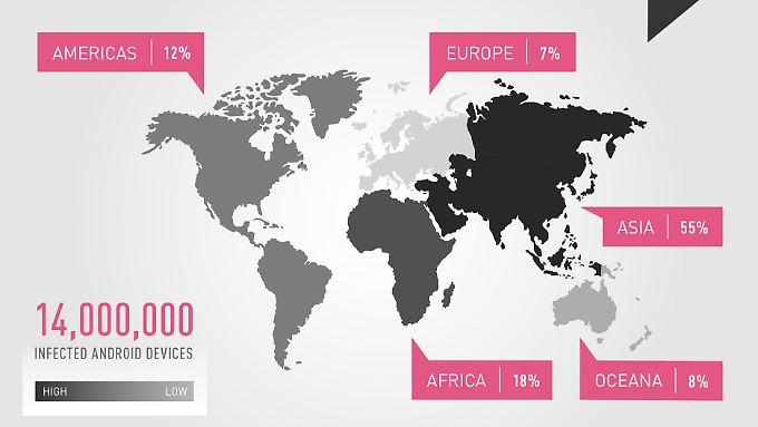 """Die meisten von """"CopyCat"""" befallenen Geräte befinden sich in Asien, aber auch europäische Nutzer haben sich den Schädling bereits eingefangen."""