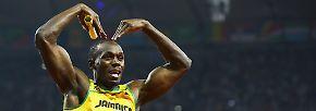 5. August 2012, London, Olympische Spiele: London liebt Bolt und erdrückt ihn fast mit Zuneigung: ...