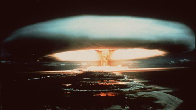 Atomtest auf Mururoa. Das Atoll ist als französisches Atomwaffentestgelände bekannt.