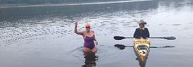 Rekordversuch geglückt: Erste Frau durchquert die Müritz