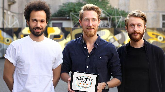 Das Team: Moritz Hohenfeld, Louis Klamroth und Niklas Rakowski wollen den demokratischen Austausch fördern.