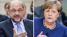 Haben jetzt die kommenden Wahlen in Niedersachsen im Blick: Martin Schulz und Angela Merkel.