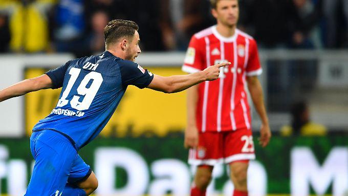 Hoffenheims Stürmer Mark Uth erledigt den FC Bayern mit seinem Doppelpack.