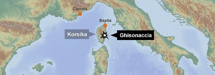 Flugroute übers Meer: Die in Cannes gestartete Maschine sollte planmäßig in Ghisonaccia landen.