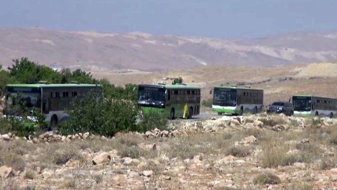 Der Konvoi startete mit 17 Bussen Richtung Deir Essor - 11 davon kamen an.
