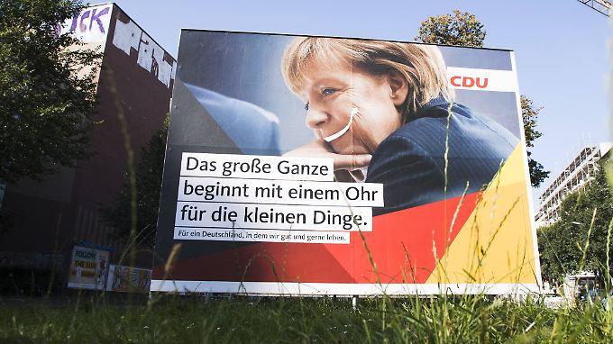 """Kritiker der CDU werfen der Regierungspartei einen inhaltsleeren """"Wohlfühlwahlkampf"""" vor."""