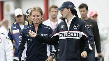 Man kennt sich: Nico Rosberg und Robert Kubica im Jahr 2008.
