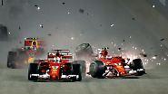 Auf die Blamage daheim folgt das Desaster in Singapur: Beim Start kegeln sich die Teamkollegen Vettel (von der Pole) und Räikkönen gegenseitig aus dem Rennen. Eine peinliche Panne, die Hamilton den Weg zum dritten Sieg in Serie ebnet.