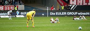 """Außerdem noch ratlos war Eintracht-Keeper Lukas Hradecky: """"Wir lieben die Auswärtsspiele in dieser Saison viel mehr. Aber ich kann nicht erklären, warum."""""""