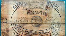 Teil einer Sprengstoffkiste aus Alfred Nobels Dynamitfabrik