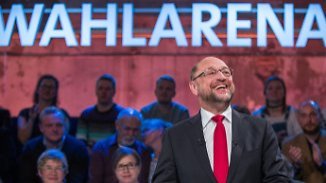 """In der """"Wahlarena"""" stellte sich Schulz den Bürgerfragen."""