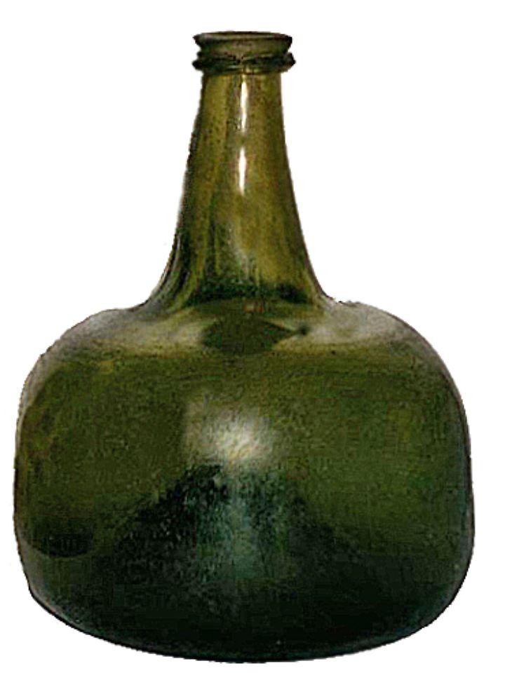 Weinflasche aus den 1740er-Jahren. Auch sie hat einen stark gewölbten Boden.
