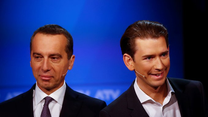 Bundeskanzler Christian Kern (l.) und sein Herausforderer, Außenminister Sebastian Kurz (r.).