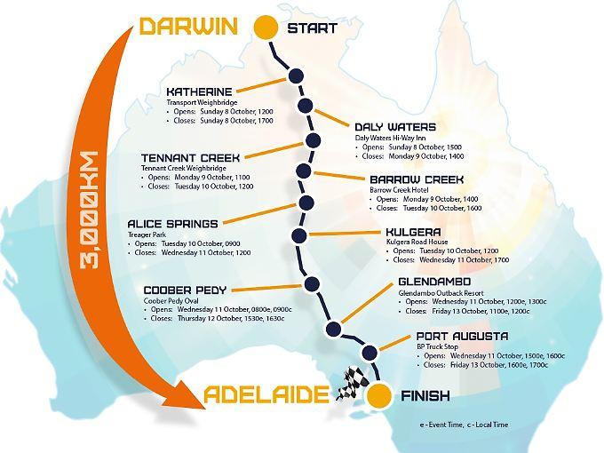 Einmal durch Australien - von Darwin nach Adelaide: Das ist die Rennstrecke der World Solar Challenge.