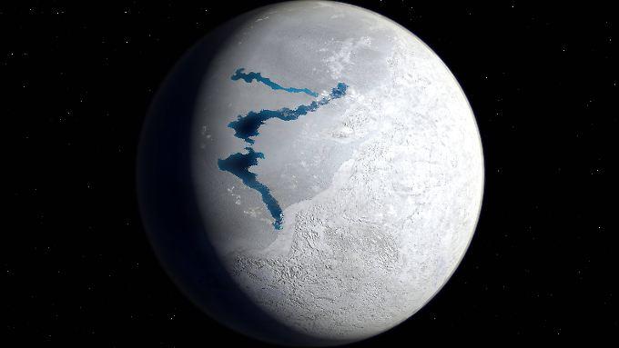 So etwa sah die Erde vor circa 650 Millionen Jahren aus - auch damals war sie fast komplett vereist.