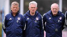 Die Drei von der Trainerbank: Peter Hermann, Jupp Heynckes und Hermann Gerland.