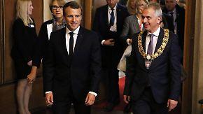Eröffnung der Buchmesse: Macron wird in Frankfurt begeistert empfangen