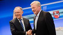 Boten ein regelrecht aufregendes TV-Duell: Ministerpräsident Stephan Weil und Herausforderer Bernd Althusmann.