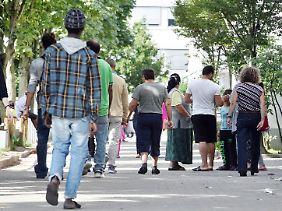 An Landeserstaufnahme für Asylbewerber (LEA) in Karlsruhe.