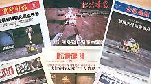"""Vier Jahre ist es her, dass der """"Jadehase"""" als erster chinesischer Rover über den Mond kurvte. Er legte 114 Meter zurück."""