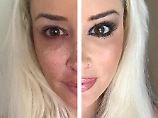 Die zwei Gesichter der Katze: Daniela Katzenberger schminkt sich ab