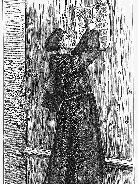 Martin Luther schlägt seine Thesen an die Tür der Schlosskirche von Wittenberg. (undatierte Grafik)
