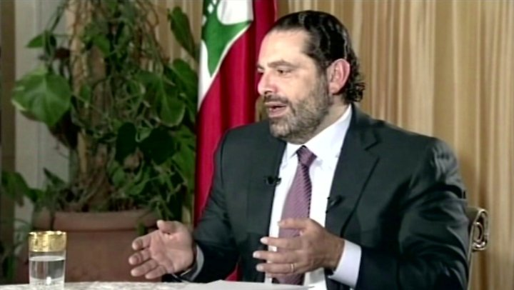 Saad Hariri bei einem TV-Interview in Saudi-Arabien.