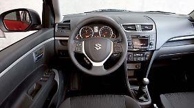 Selbst in der gehobenen Ausstattung geht es in einem Suzuki Swift eher nüchtern zu.