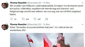 Screenshots der Tweets von Rauscher. Sein Twitter-Konto hat er inzwischen gelöscht.