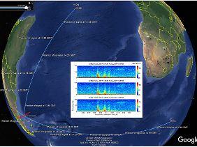 Kreuzpeilung mit Unterwasserschalldaten: Der Ort der mutmaßlichen Explosion liegt im Südatlantik.