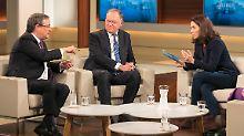 Armin Laschet (CDU, l.) und NRW-Ministerpräsident Stephan Weil (SPD, Mitte) sondieren bei  Anne Will.