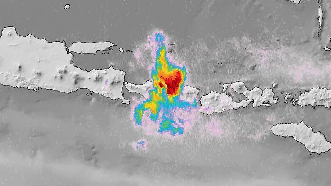 Satellit Sentinel-5P liefert Bilder von Vulkan Agung auf Bali und seinen Auswirkungen auf die Atmosphäre.