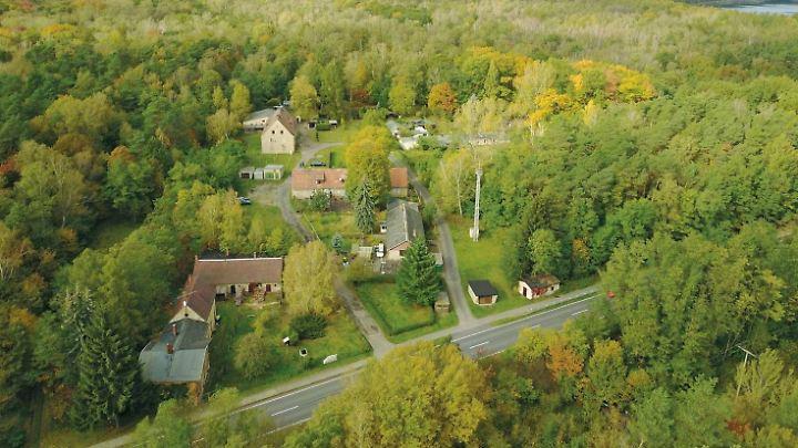 Zwei Mehrfamilienhäuser, fünf Doppelhaushälften, ein Zweifamilienhaus, ein Einfamilienhaus, zehn Schuppen und Garagen stehen in Alwine - umgeben von Wald.