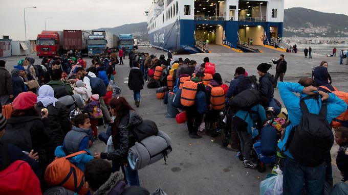Flüchtlinge auf der Insel Lesbos. In Griechenland kommen besonders viele Flüchtlinge an.