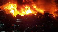 Großbrand im Ruhrgebiet: Feuerwehr löscht Hunderte Autowracks
