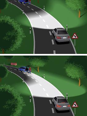 Echtes Kurvenlicht verfolgt mit dem Lichtkegel, gesteuert durch den Lenkeinschalg den Verlauf der Kehre.