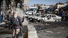 Huthi-Kämpfer in der jemenitischen Hauptstadt Sanaa.
