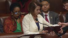 Acht Stunden und sieben Minuten: US-Demokratin Pelosi redet und redet und ...