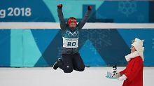 Laura Dahlmeier hat noch nicht genug: Sie könnte am Samstag schon zum vierten Mal aufs Podium springen.