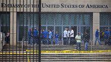 Botschaftsangestellte auf dem Gelände der US-Botschaft in Havanna. Betroffene wurden an der University of Pennsylvania von einem Expertentross untersucht.